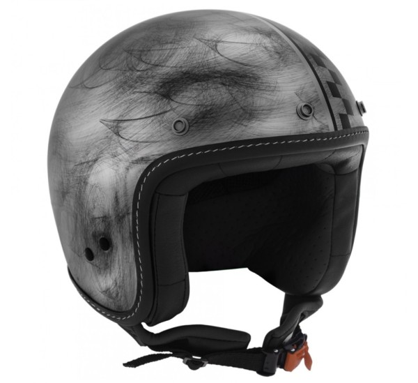 Moto Guzzi jet helmet, bobber, silver