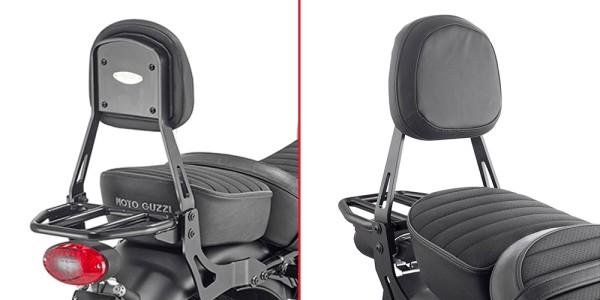 Sissy bar with carrier black for Moto Guzzi V9 Roamer / V9 Bobber (Bj.16-) original Givi