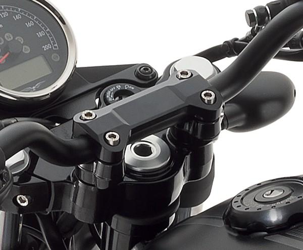 Handlebar cover, aluminum, black for Moto Guzzi V7 III