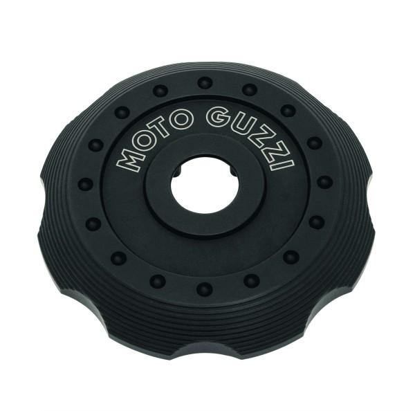 Cover for fuel filler cap, black aluminum for Moto Guzzi V7 III / V7 850