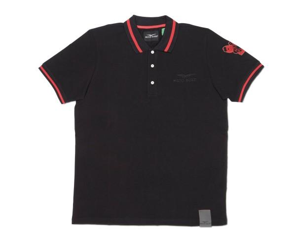 Moto Guzzi men's polo shirt classic cotton black