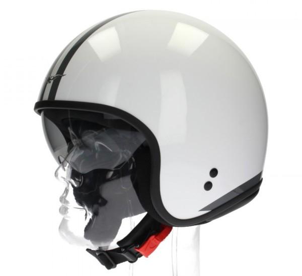 Moto Guzzi Jet Helmet, White Stripes, white