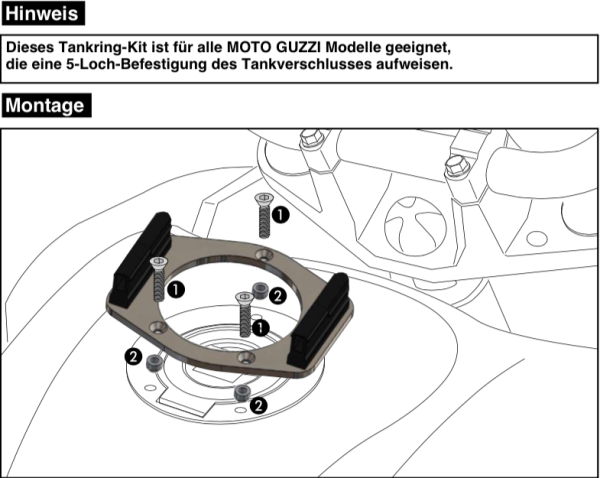 Tankring Lock-it 5 hole attachment for V 7 II Classic (Bj.15-16) original Hepco & Becker
