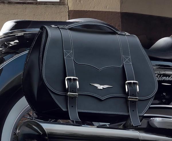 Original panniers, leather, black, 23 l for Moto Guzzi Eldorado