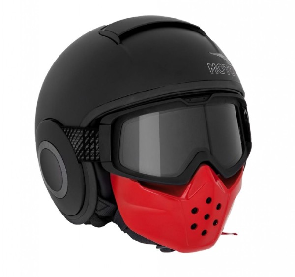 Moto Guzzi jet helmet, mask, black, matt