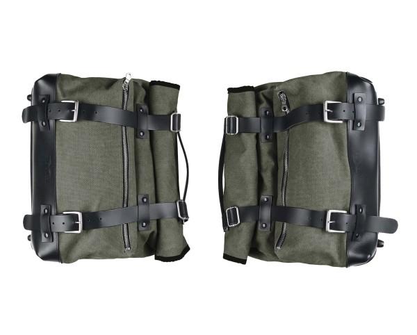 Set of side bags, green, canvas for Moto Guzzi V9 Roamber / Bobber / V7 850 2021-