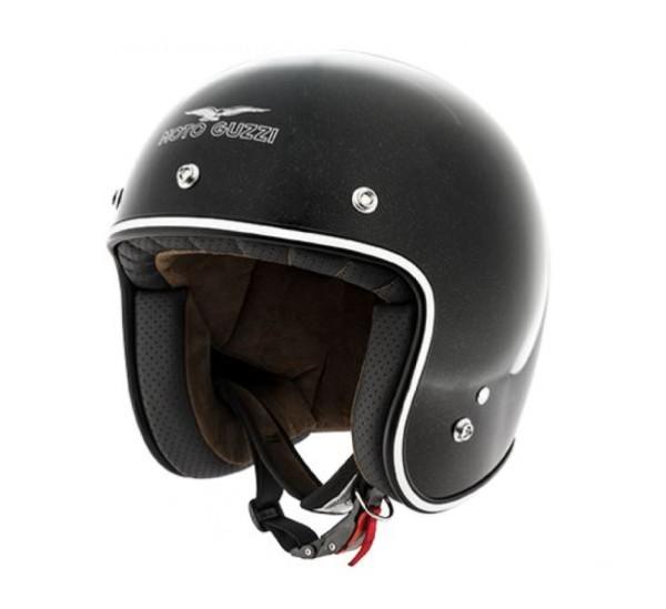 Moto Guzzi Jet Helmet Metal Flank Black Helmet